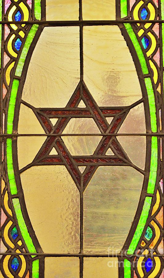 Star Of David In Stained Glass Photograph