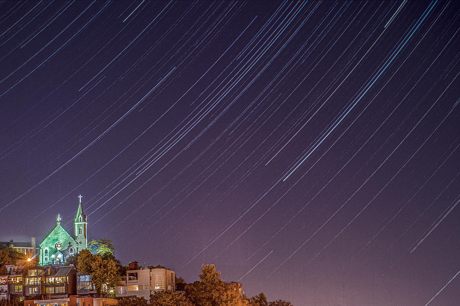 Star Trails over the Holy Cross Immaculata Church Cincinnati Ohio by Dave Morgan