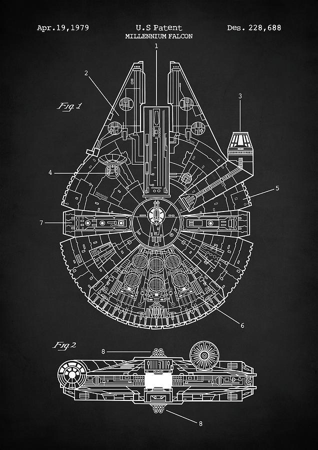 Star Wars Digital Art - Star Wars Millennium Falcon Patent by Zapista OU
