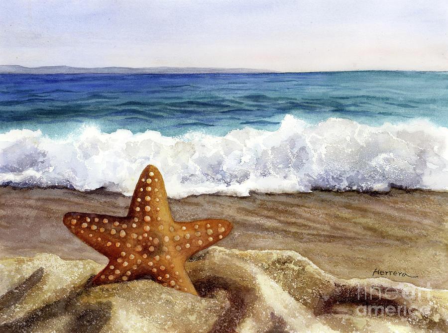 Starfish And Sea Wave Painting
