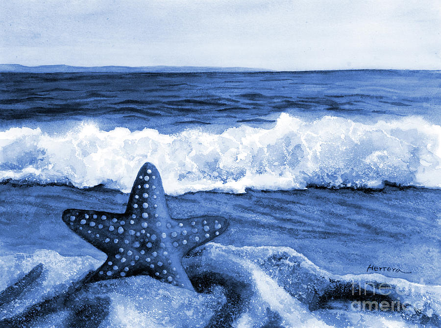 Starfish And Sea Wave In Blue Painting