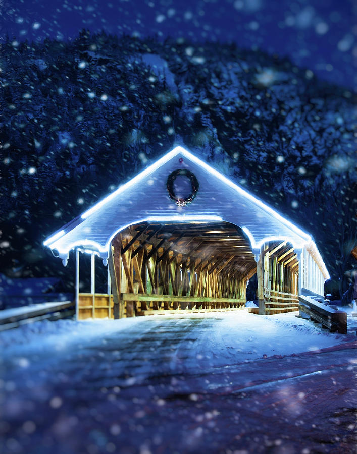 Stark Covered Bridge in Snow by Joann Vitali
