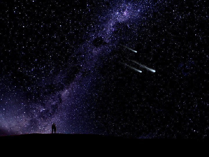 Nightscape Painting - Starry Couple Watching Meteorites Wall Mural by Frank Wilson
