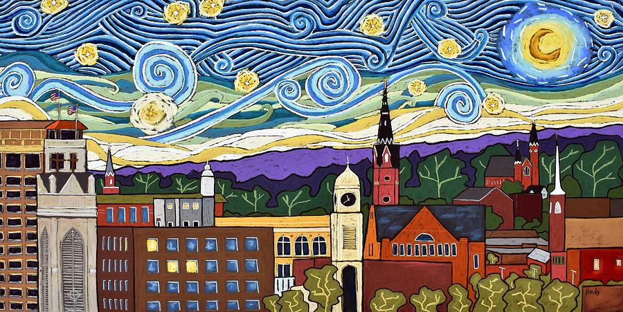 Starry Night Over Dubuque Painting