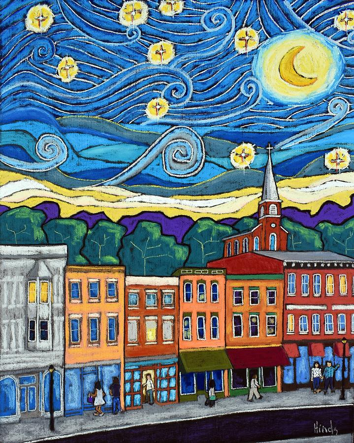 Starry Night Over Galena Painting