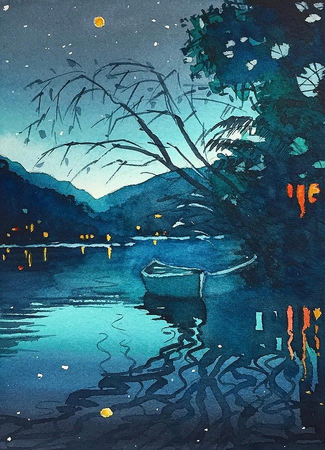 Starry Night Over The Lake Painting