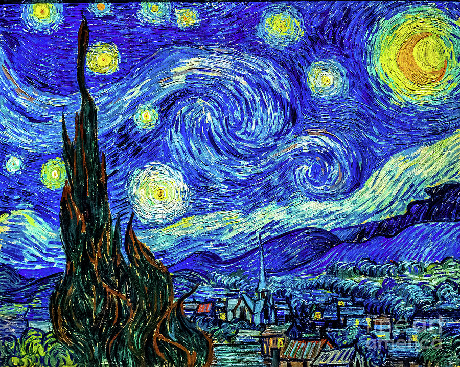 Van Gogh Starry Night Painting - Starry Night Print by Vincent Van Gogh by Vincent Van Gogh