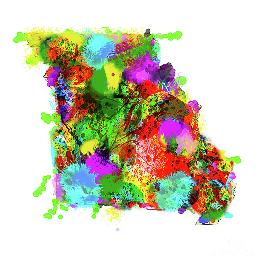 Map Of Missouri Spatter Paint Absract by Genevieve Esson