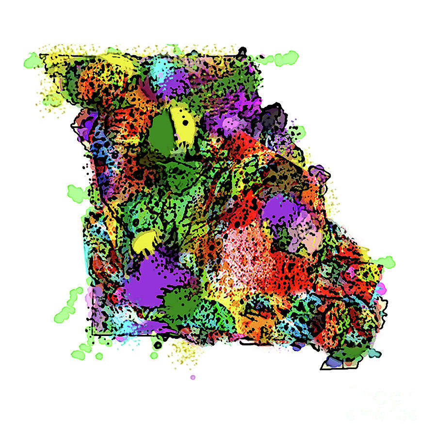 State Of Missouri Spatter Paint Abstract by Genevieve Esson