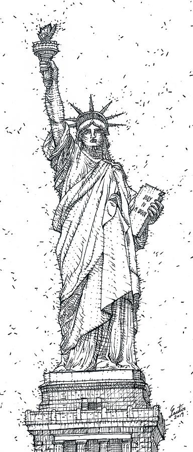STATUE OF LIBERTY - ink painting by Fabrizio Cassetta