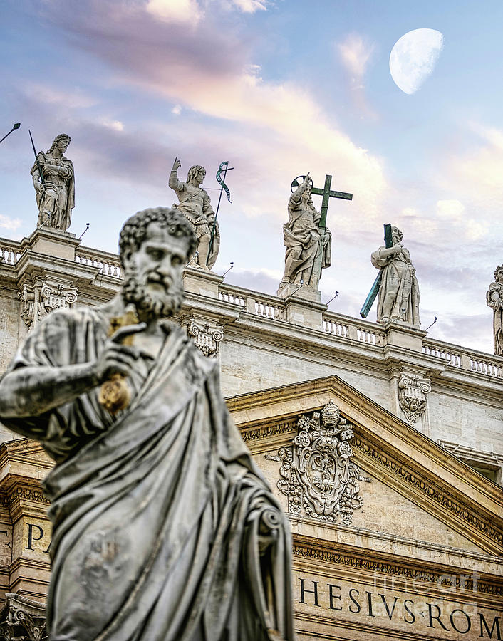Vatican City Photograph - Statue of St Peter holding the key to the gates of heaven in front of St Peters Basilica by Stefano Senise
