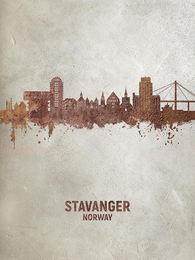 Stavanger Digital Art - Stavanger Norway Skyline #87 by Michael Tompsett