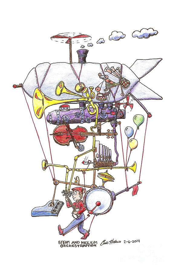 One Man Band Drawing - Steam and Helium Orchestraption by Eric Haines