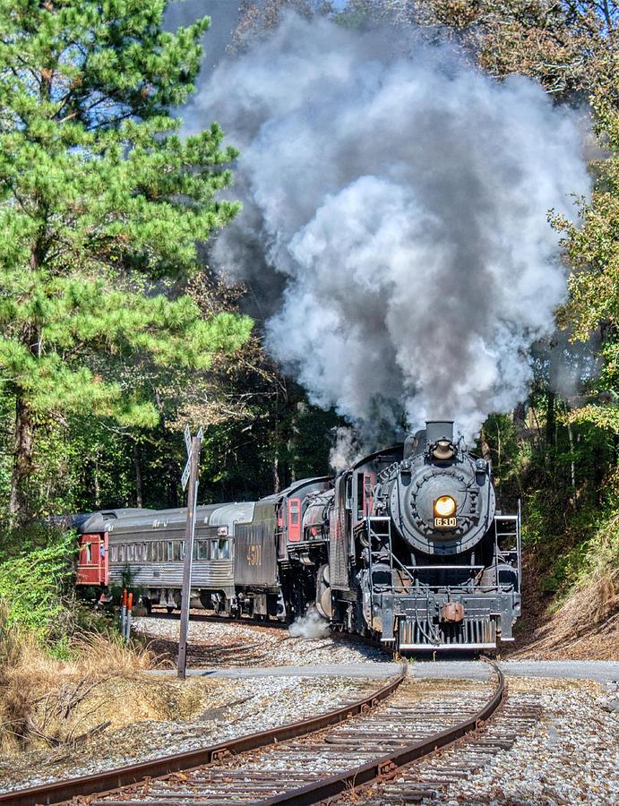 Steam Locomotives Rounding Curve Photograph