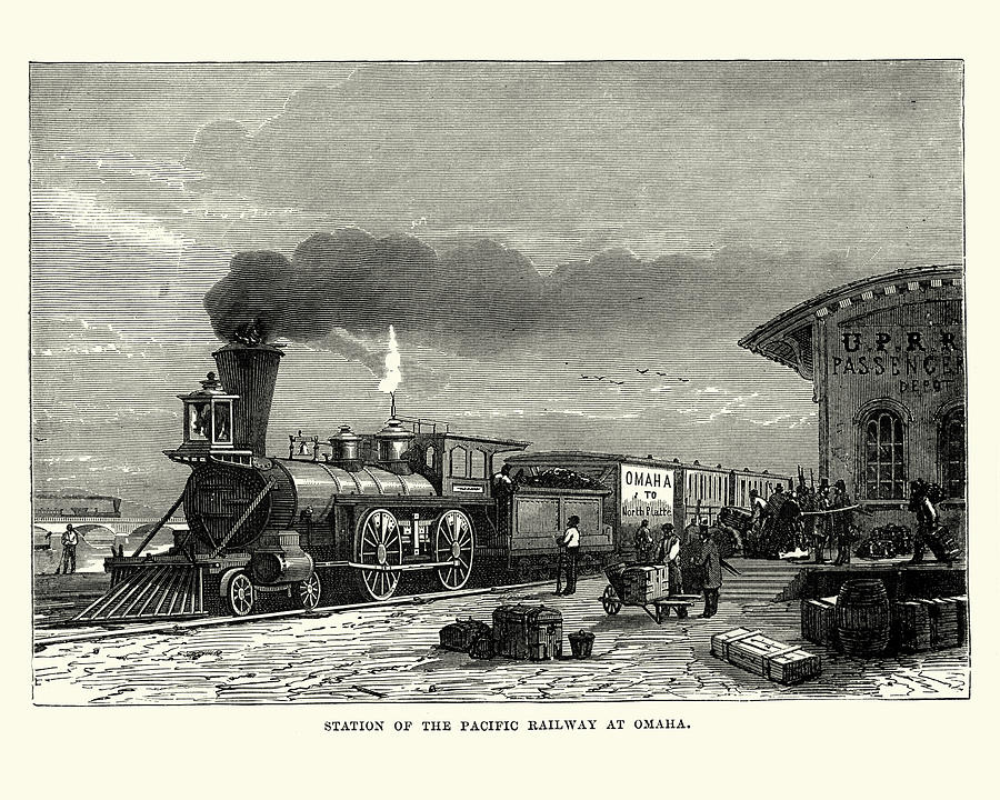 Steam train, station of Pacific Railway at Omaha, 19th Century Drawing by Duncan1890
