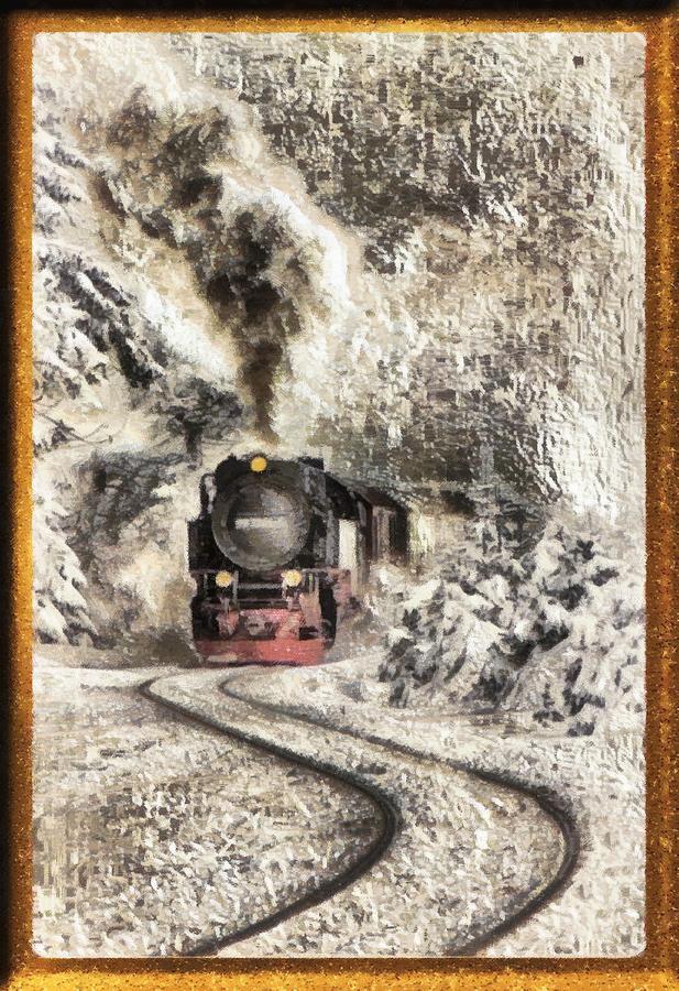 Steaming Through The Snow Digital Art