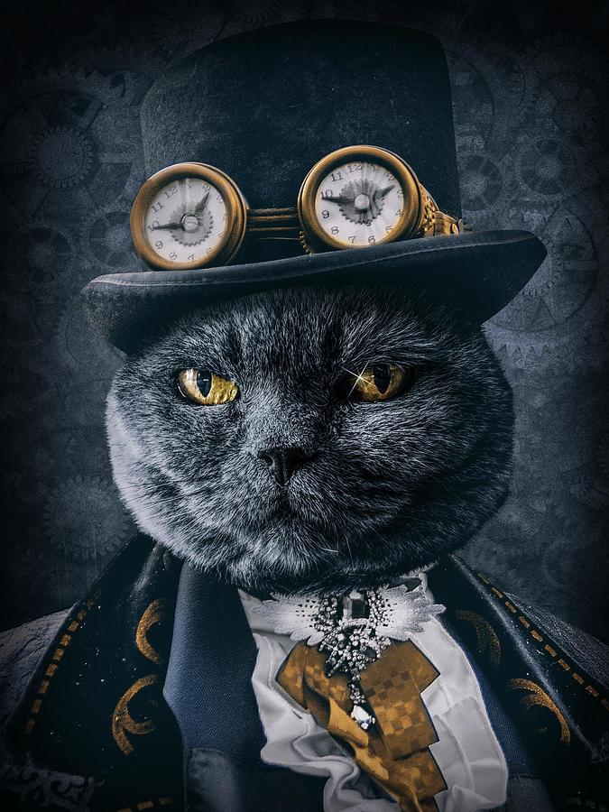 Steampunk Cat Portrait Digital Art