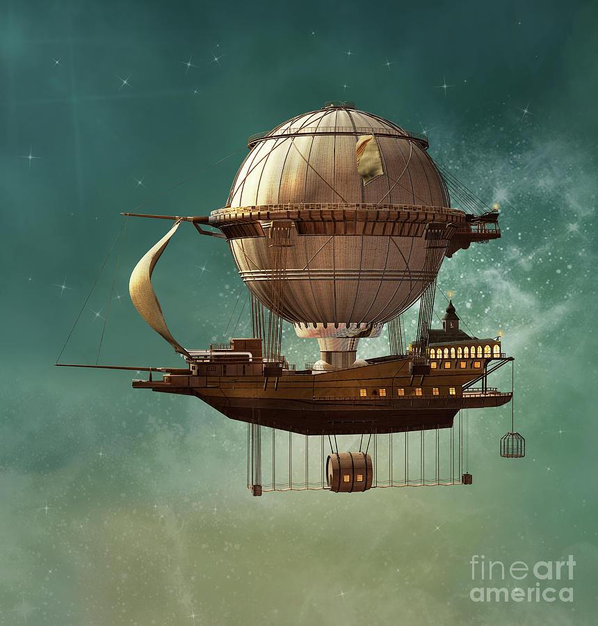 Steampunk Hot Air Balloon Digital Art