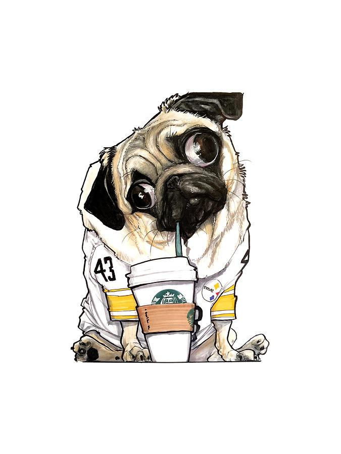 Steelers Starbucks Pug Drawing