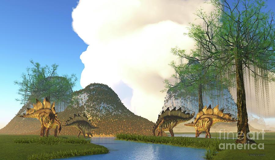 Stegosaurus Dinosaur River Digital Art
