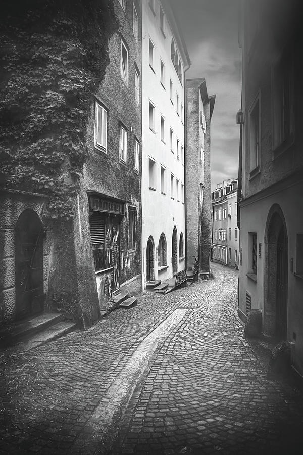 Steingasse Street Salzburg Austria Black And White Photograph