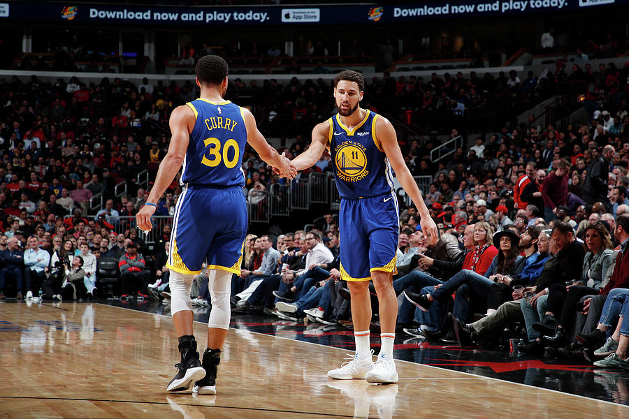 Stephen Curry and Klay Thompson Photograph by Jeff Haynes