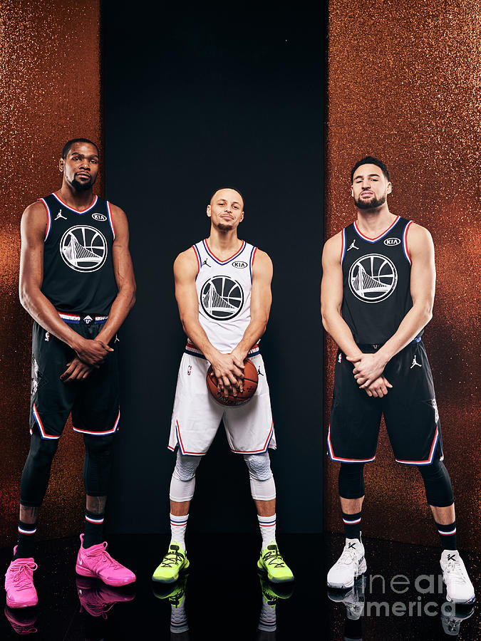 Stephen Curry, Kevin Durant, and Klay Thompson Photograph by Jennifer Pottheiser