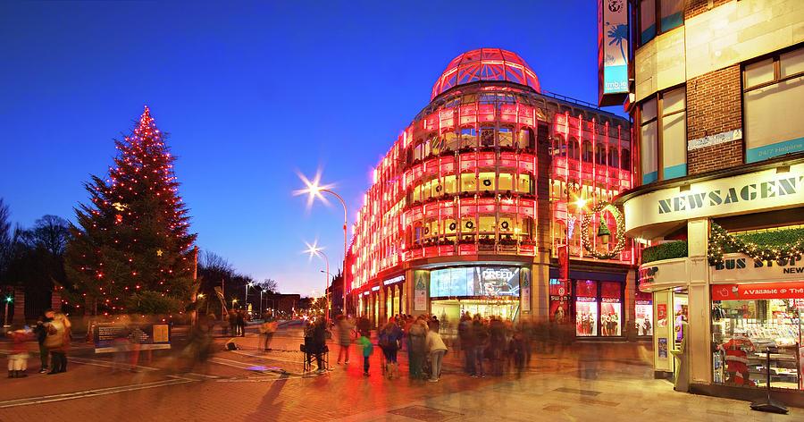 Dublin Photograph - Stephens Green Shopping Centre and Christmas Tree - Dublin, Ireland by Barry O Carroll