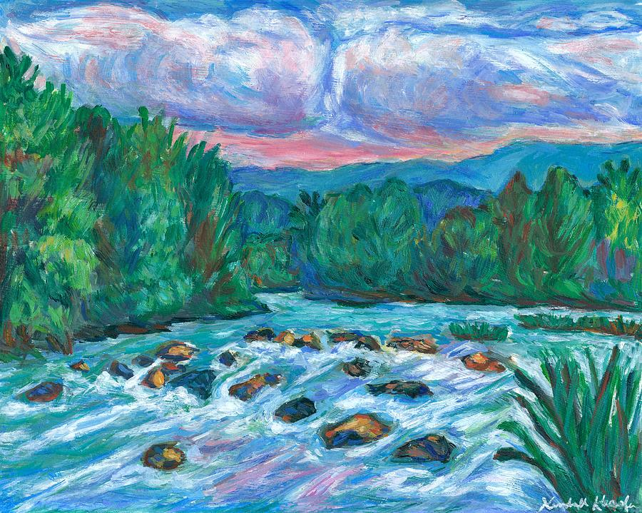 Landscape Painting - Stepping Stones on the New River by Kendall Kessler