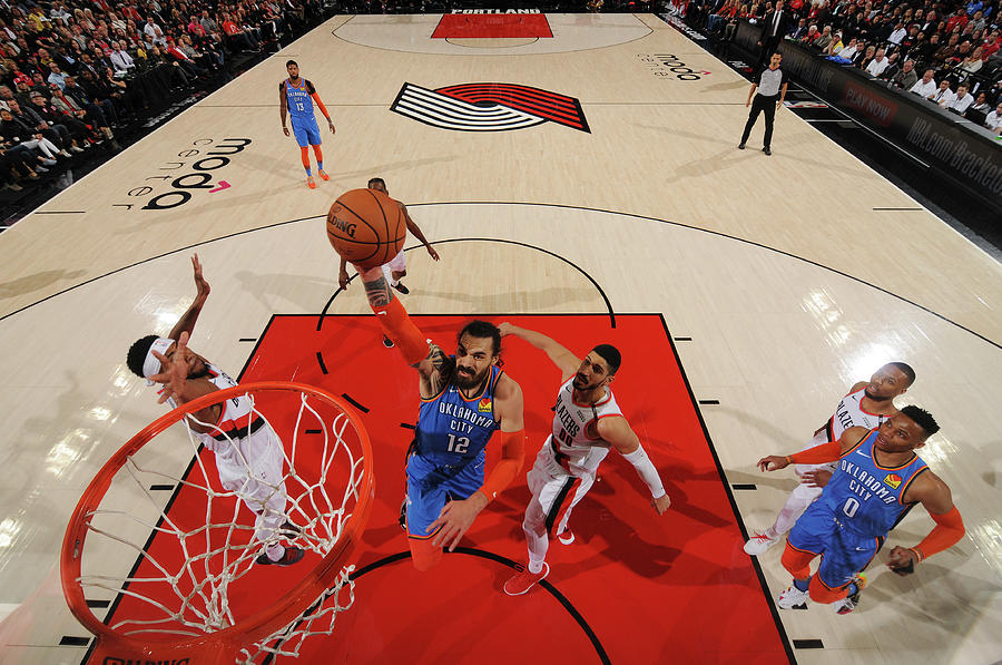 Steven Adams and Enes Kanter Photograph by Cameron Browne