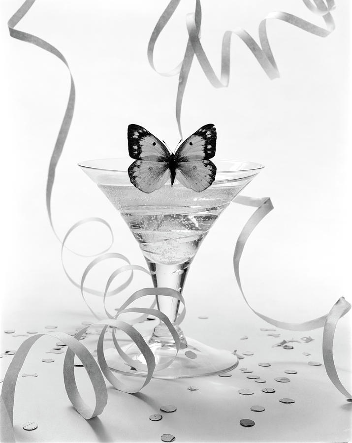 Still Life of Butterfly on a Martini Glass Drawing by William Grigsby