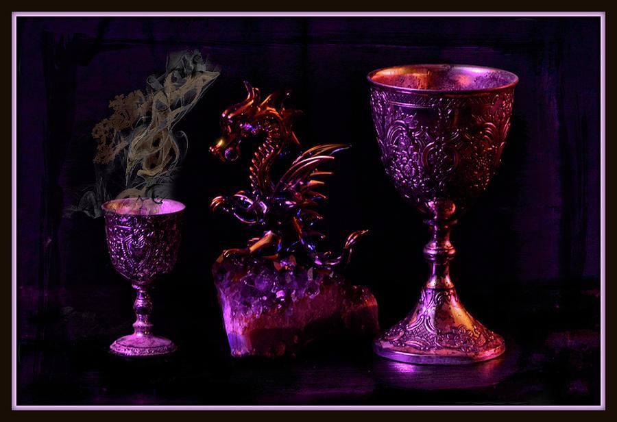 Still Life Of Dragon With Chalis Mixed Media