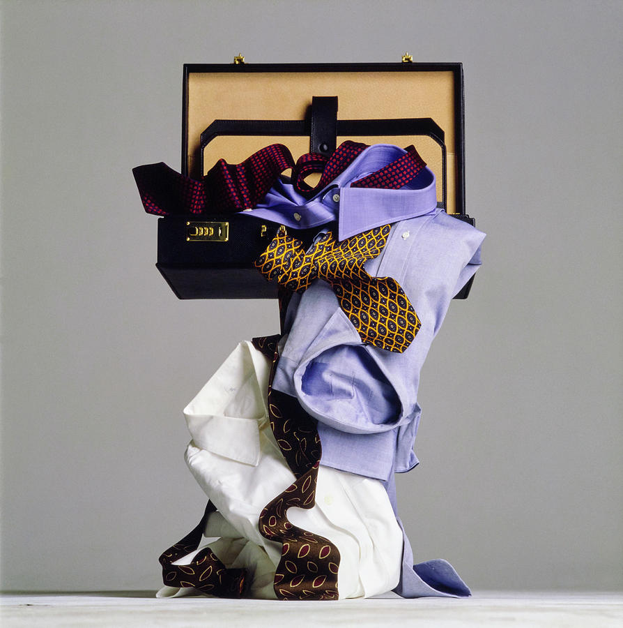 Still Life of Suitcase with Mens Clothes Photograph by Walter Chin