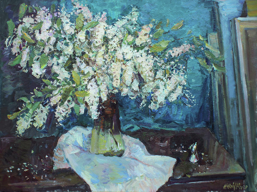 Still Life With Bird Cherry In The Studio Painting