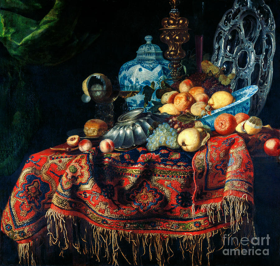 Still Life With Fruit, Plates And Dishes On A Turkey Carpet Painting