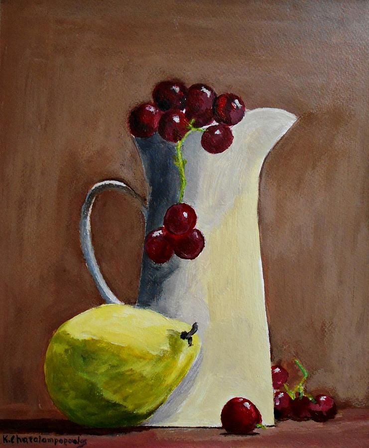 Still Life With Grapes And Lemon Painting