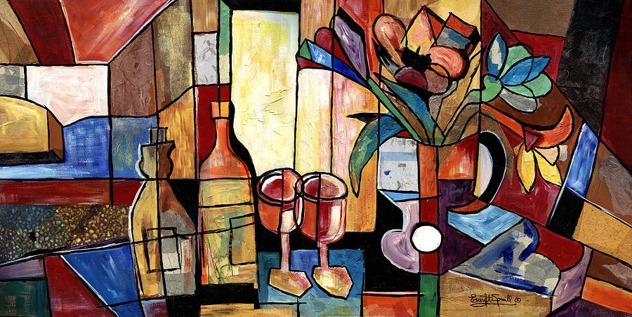 Cubism Painting - Still Life with Wine and Flowers for two take 2  by Everett Spruill