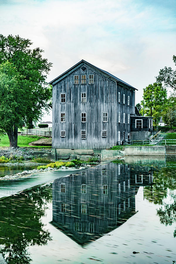 Grist Mill Photograph - Stockdale Roller Mill Reflection by Scott Smith