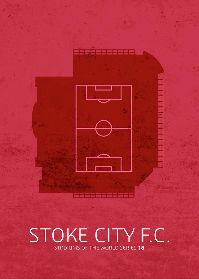 Fc Mixed Media - Stoke City Sports Stadium Minimalist Football Soccer Series by Design Turnpike