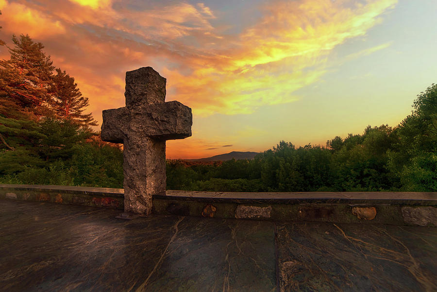 Stone Cross At The Cathedral Of The Pines Photograph
