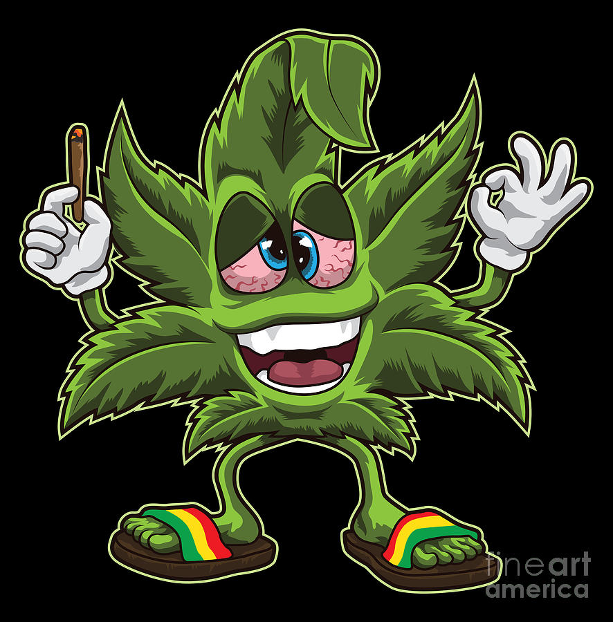 Stoned Cannabis Leaf Weed Smoking Cartoon Digital Art By Mister
