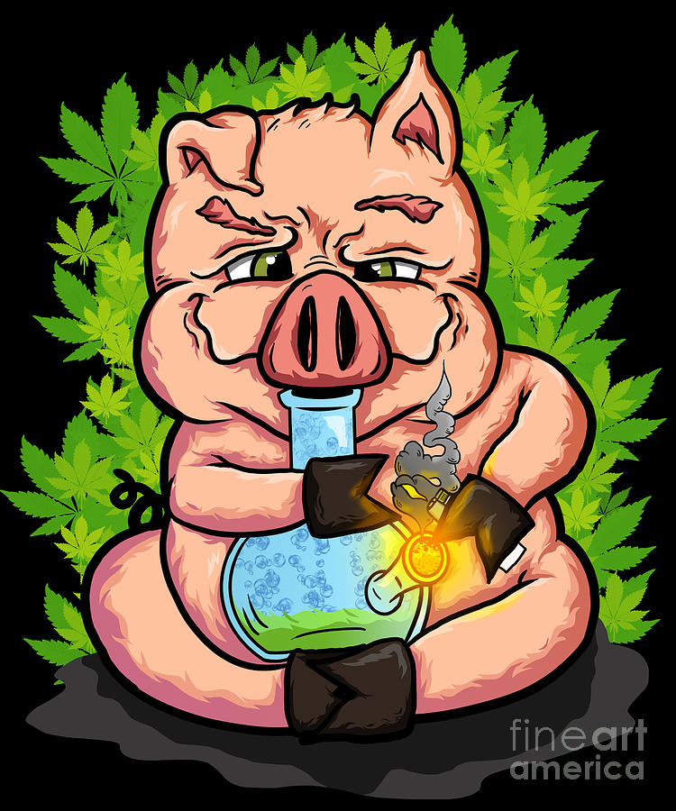 Stoned Pig Who Loves To Smoke Weed Digital Art By Beth Scannell