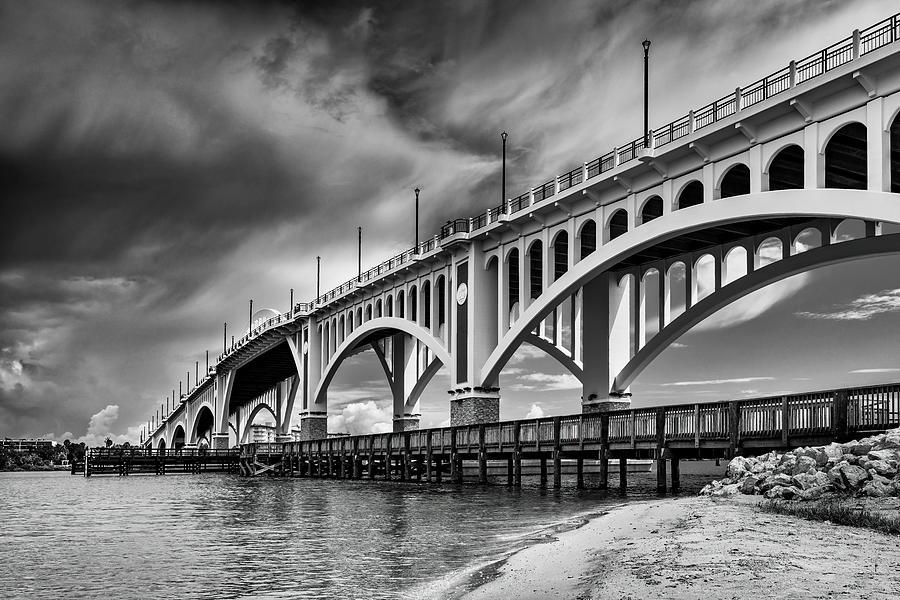 Bridge Photograph - Storm Over Veterans Memorial Bridge by Charles LeRette