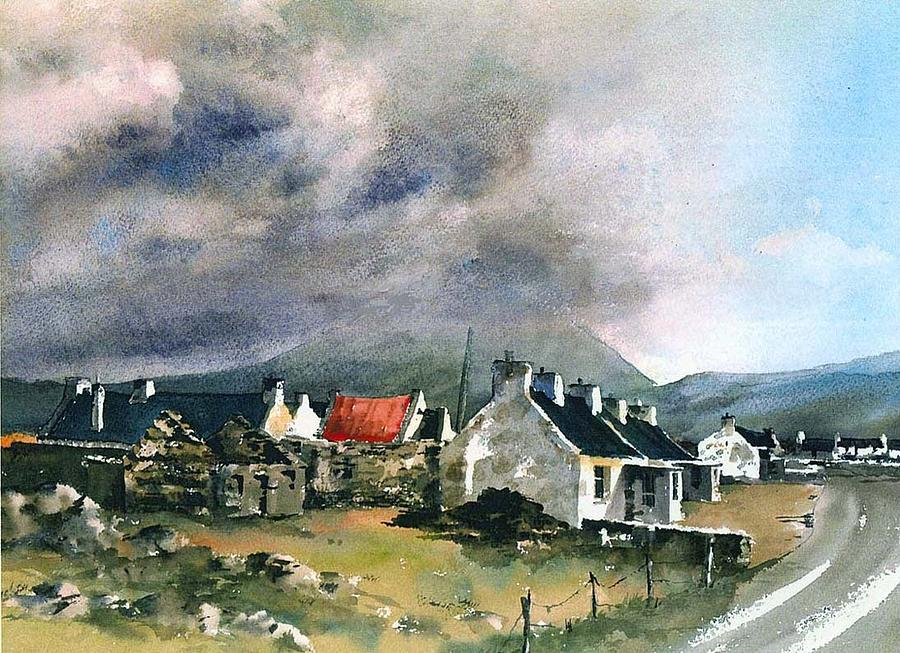 Stormclouds over Keel Village, Achill, Mayo by Val Byrne