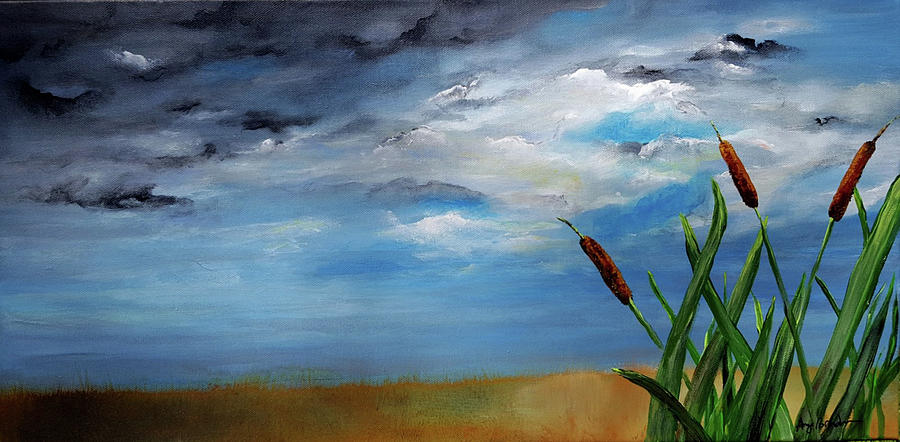 Storm Painting - Stormy Clouds Cattails by Amy Brandum