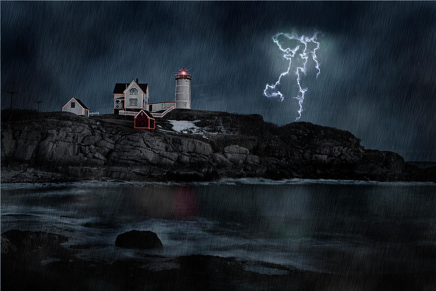 Nubble Lighthouse Photograph - Stormy Night by Sandra Marie Photography