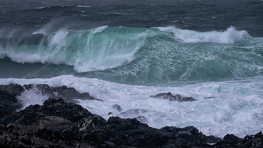 Wave Photograph - Stormy Seas by Randy Hall
