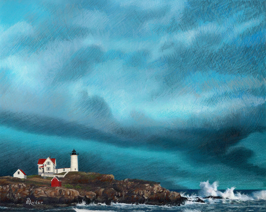 Lighthouse Drawing - Stormy Sentinel by Brent Ander