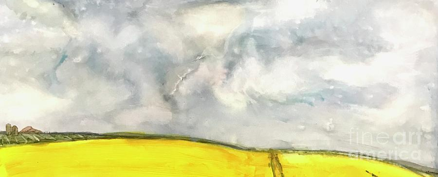 Stormy Sky Yellow Fields Of Hope Abstract Painting By Patty Donoghue