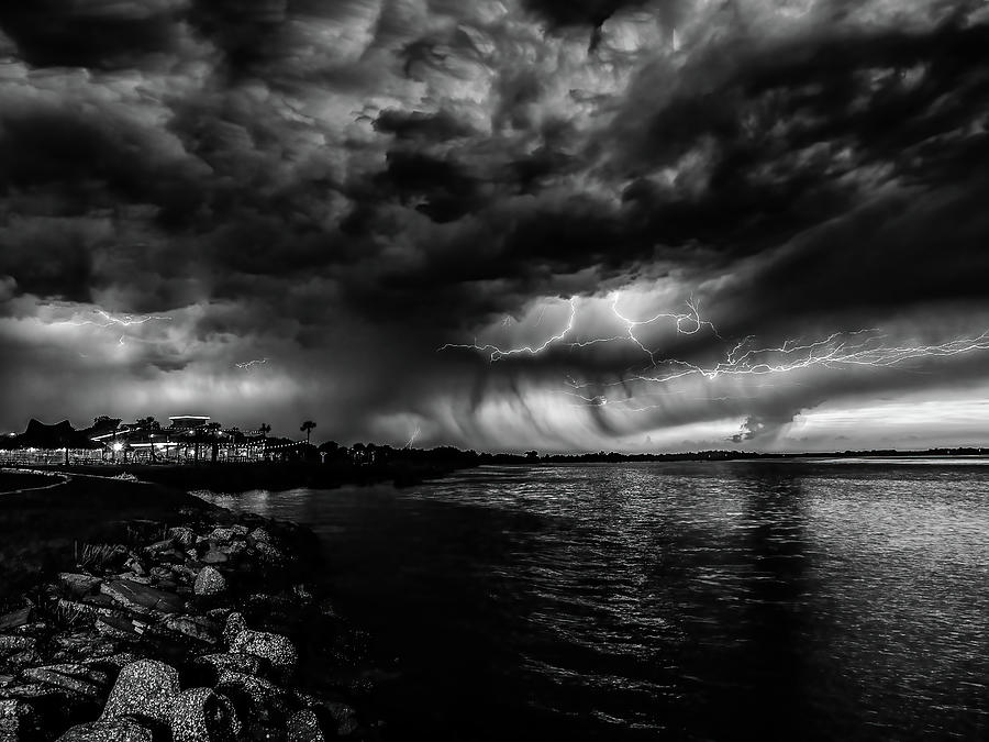 Stormy Sunset Black And White Photograph